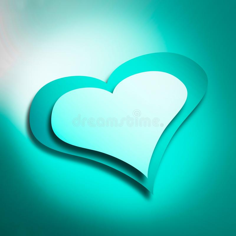 Cyan heart royalty free stock photos