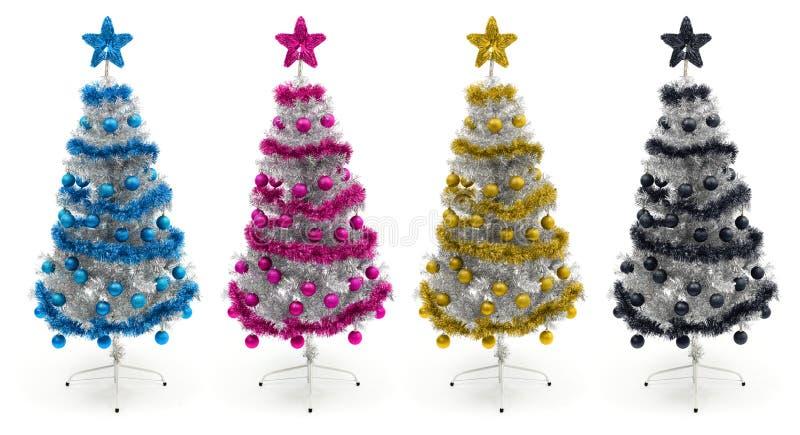 Download Cyan, Magenta, Yellow And Black Christmas Trees Stock Illustration - Image: 19715782