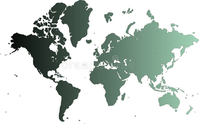 Cyan map of the world. Computer generated map with white background (derived from NASA world map royalty free illustration