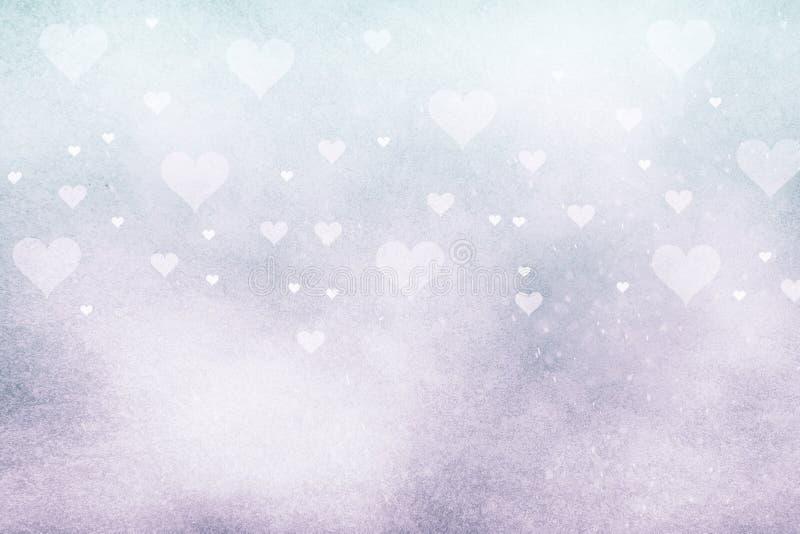 Cyan menchii barwiony tło z sercami ilustracji