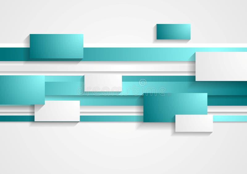 Cyan och vita rektanglar och band teched royaltyfri illustrationer