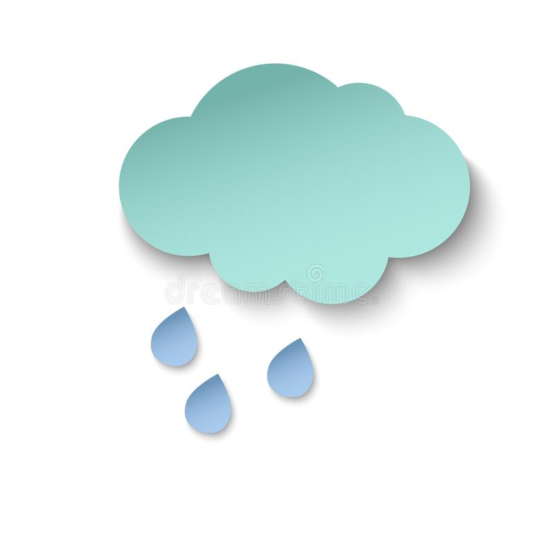 Cyan paper cut cloud, and rain drops. 3d paper art style. Weather illustration royalty free illustration