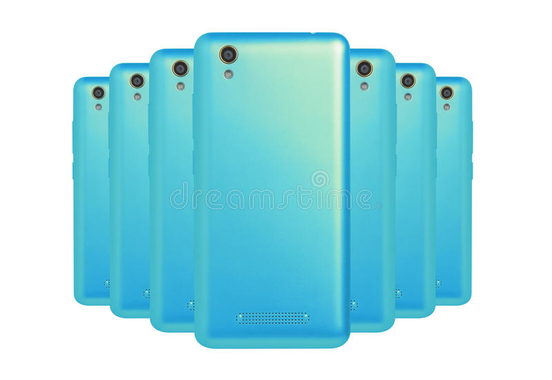 Cyan phones. The number of cyan phones located next to each other on white background royalty free stock image