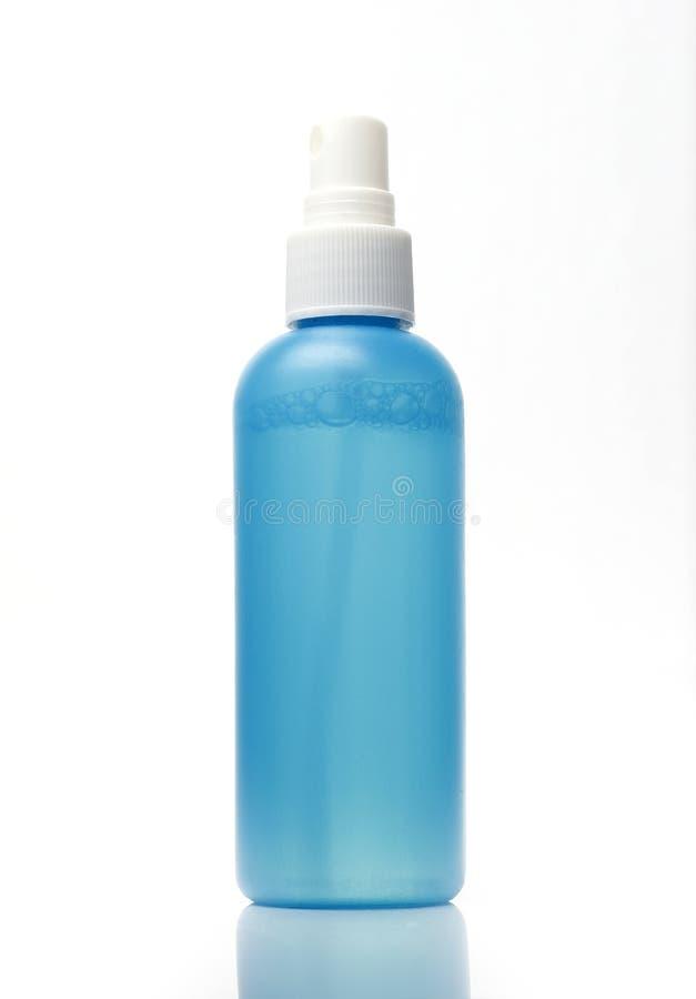 Cyan Plastikowa kiści butelka zdjęcia stock