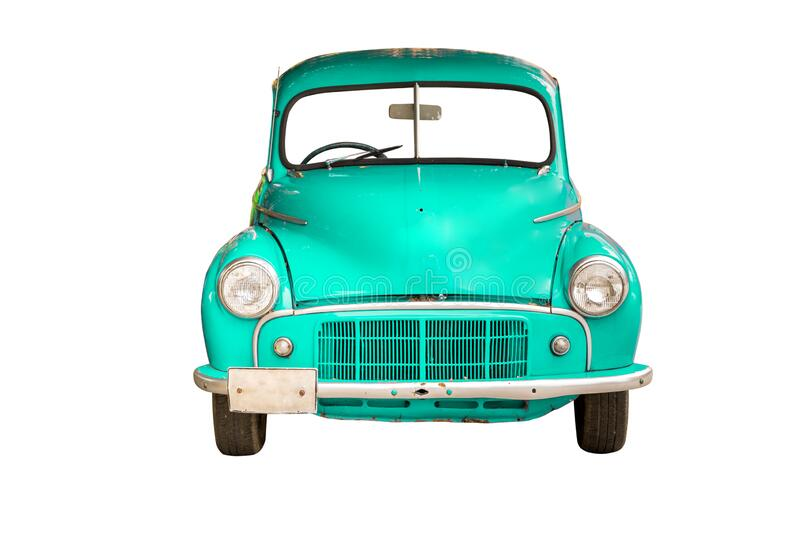 Cyan retro car, isolated on white background with clipping path.  royalty free stock photography