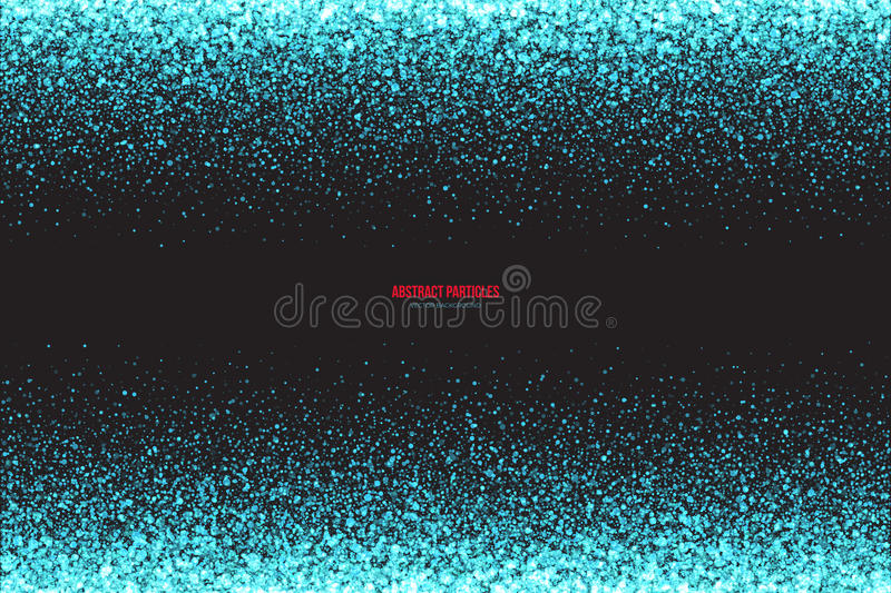 Cyan Shimmer Glowing Round Particles Vector Background stock illustration