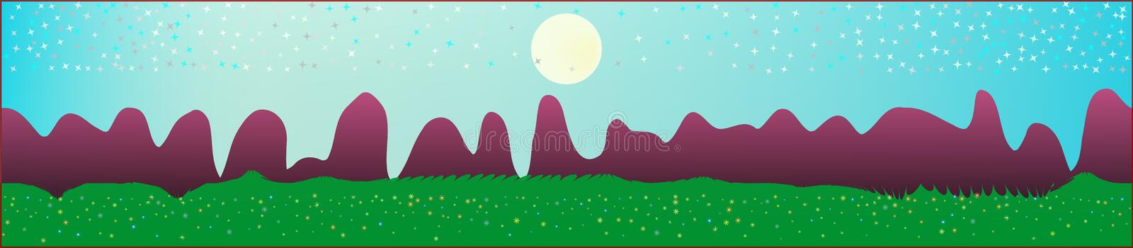 Cyan sky, and mountains landscape. Plain horizontal background illustration. Trendy fairy tale plain design. Recent glass print fantasy. Horizon, light. Old vector illustration