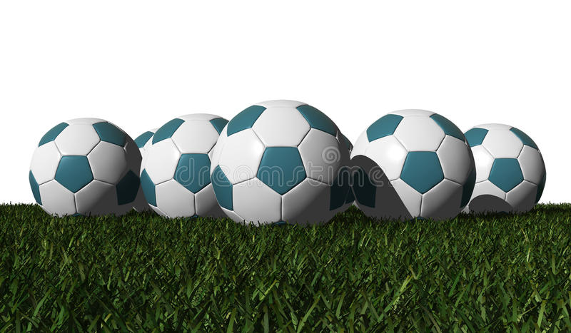 Download Cyan Soccer Balls On A Green Grass Stock Illustration - Image: 25608502