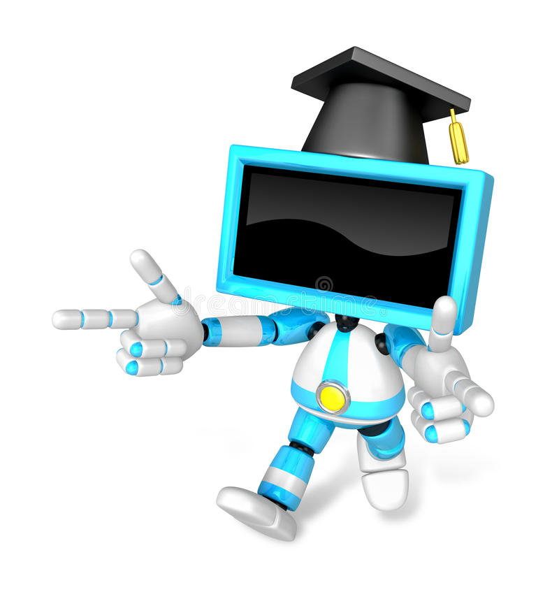 Cyan TV character are kindly guidance. Create 3D Television Robo