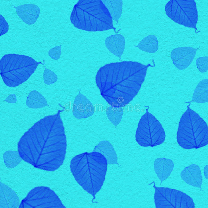 Cyan wall texture with blue leaf paint. For background royalty free illustration