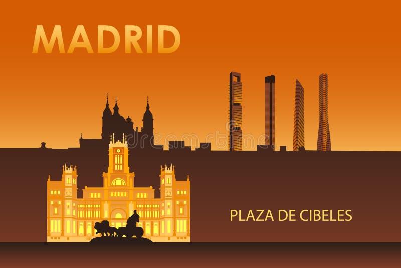 Cybele pałac w nocy Madryt royalty ilustracja