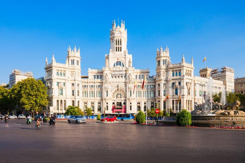 Cybele Palace in de stadscentrum van Madrid, Spanje stock afbeeldingen