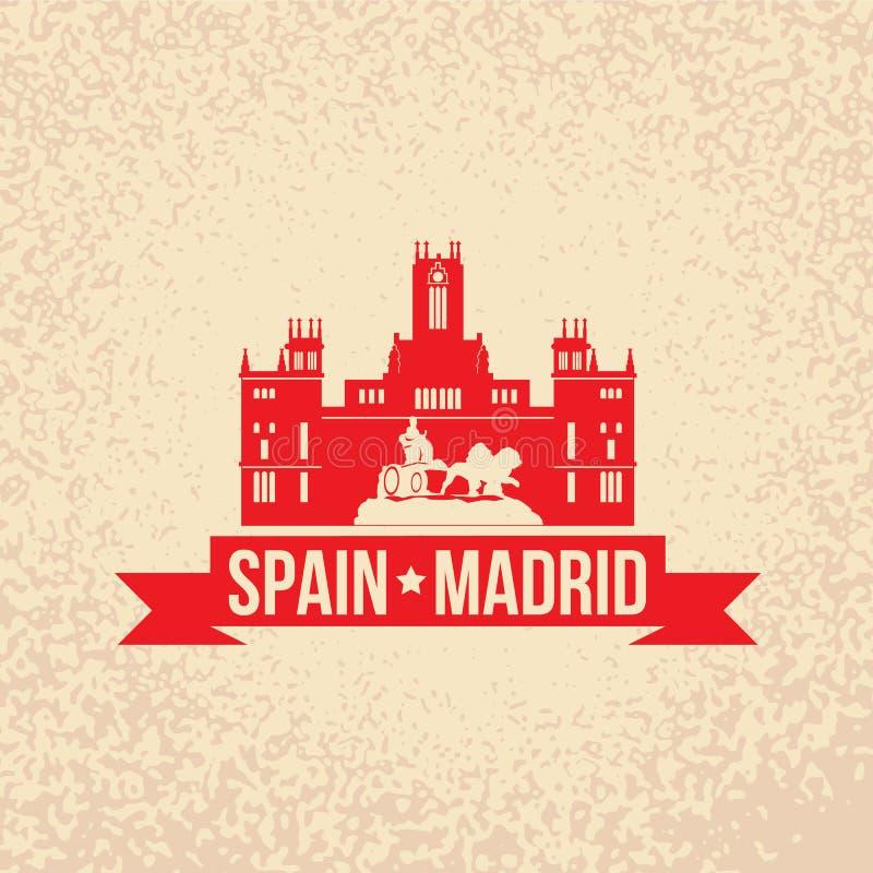Cybele Palace - het symbool van Spanje, Madrid stock illustratie