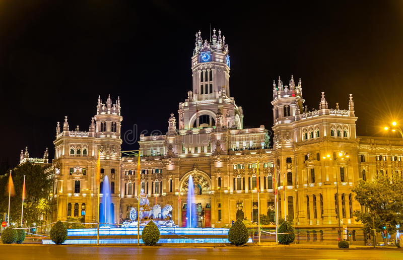 Cybele Palace in Madrid, Spanje stock afbeelding
