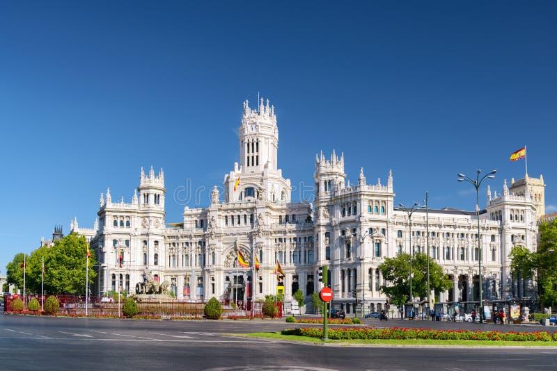 Cybele Palace (Paleis van Mededeling), Madrid, Spanje stock afbeeldingen
