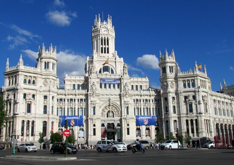 Cybele Palace (Stadhuis) op Plaza DE Cibeles in Madrid royalty-vrije stock afbeeldingen