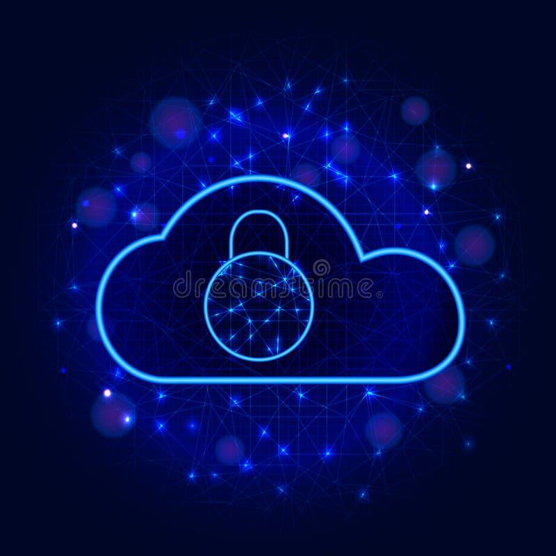 Cyber证券概念 与挂锁的安全云彩数据存储技术设计在抽象蓝色背景 保密性信息 向量例证