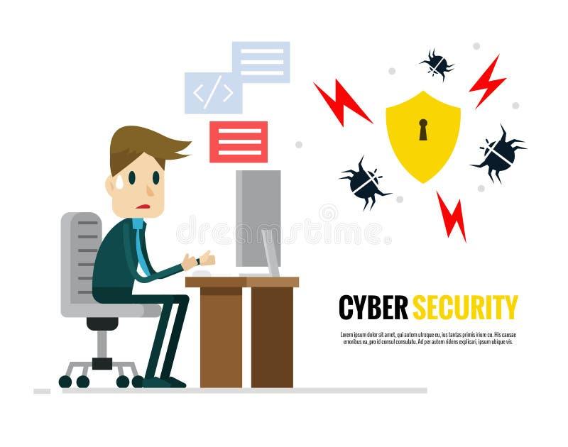 Cyber证券概念 设法的商人保护他的计算机免受病毒 向量例证