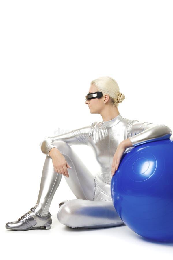 cyber ćwiczenia sprawności fizycznej relaksująca kobieta obrazy stock