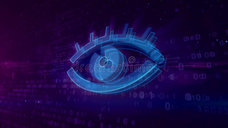 Cyber που κατασκοπεύει την ψηφιακή έννοια με την τρισδιάστατη απεικόνιση ματιών κατασκόπων απεικόνιση αποθεμάτων