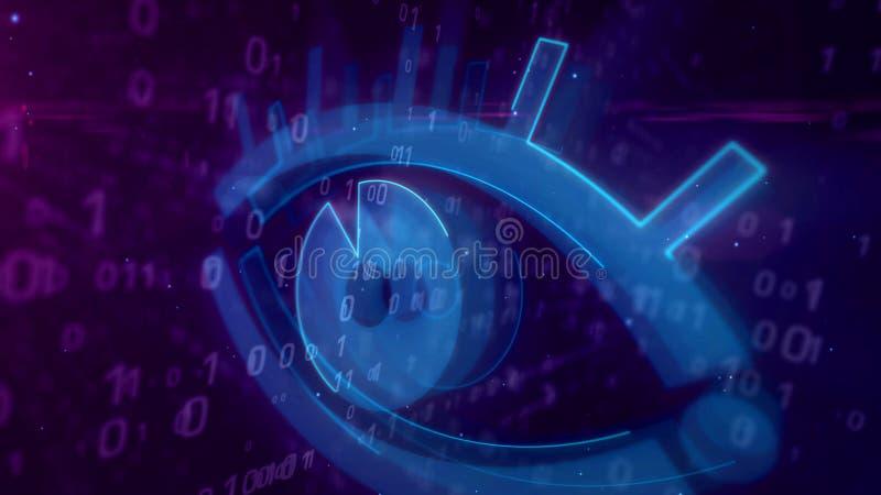 Cyber που κατασκοπεύει την ψηφιακή έννοια με την τρισδιάστατη απεικόνιση ματιών κατασκόπων διανυσματική απεικόνιση
