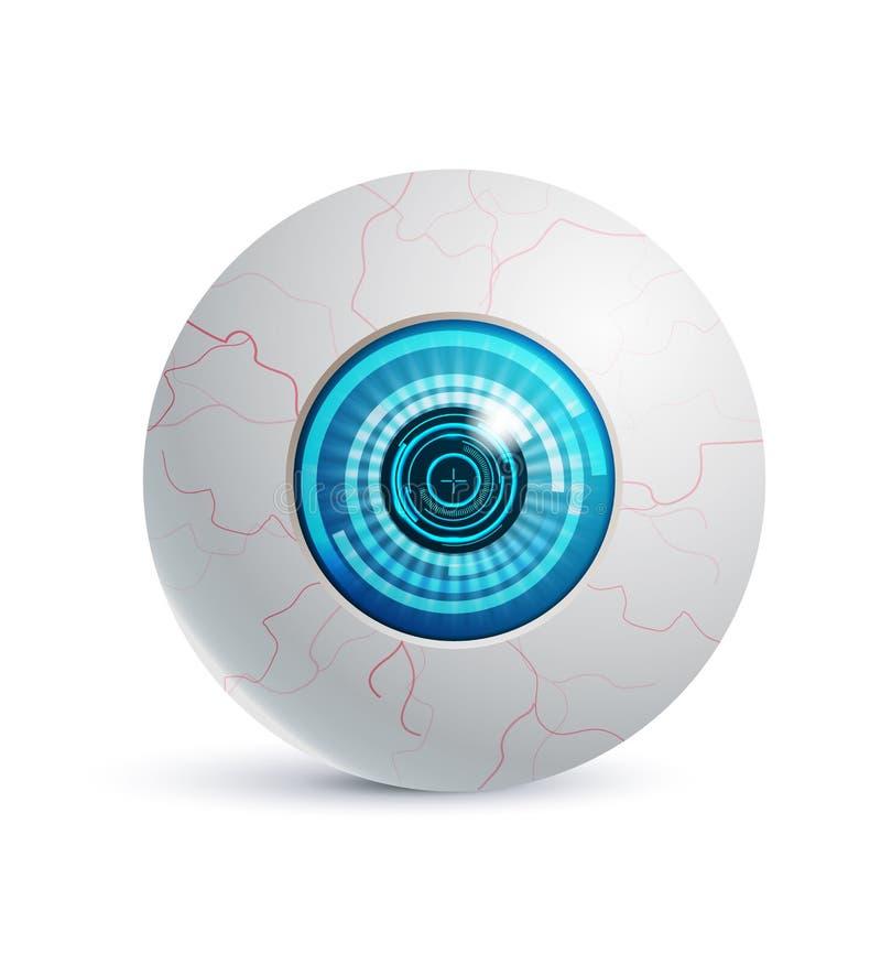 Cyber ρεαλιστικό αντικείμενο εικονιδίων ματιών φουτουριστικό διανυσματική απεικόνιση