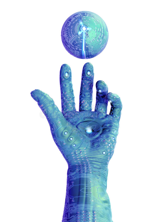 cyber χέρι ρομποτικό ελεύθερη απεικόνιση δικαιώματος