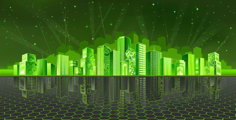 cyber города иллюстрация вектора