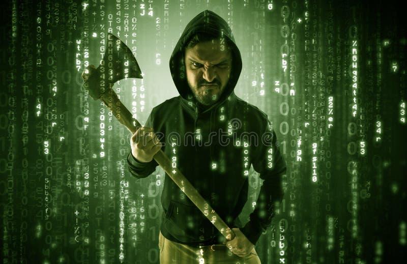 Οπλισμένος χάκερ στην έννοια σύννεφων ασφάλειας cyber στοκ φωτογραφία με δικαίωμα ελεύθερης χρήσης