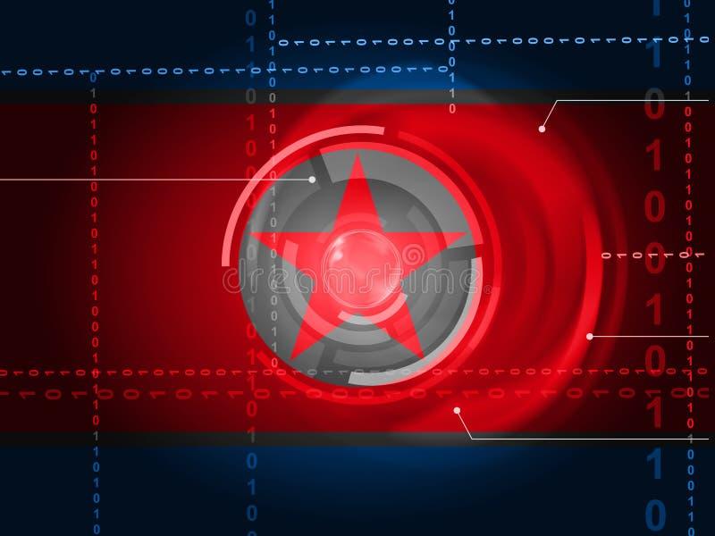 Cyber-Angriff durch kriminelle Illustration Nordkoreas Spions-3d vektor abbildung