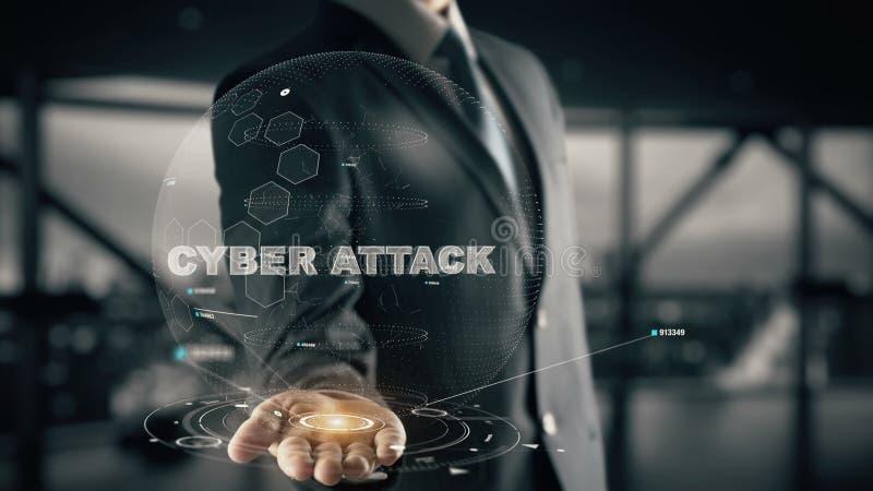 Cyber-Angriff mit Hologrammgeschäftsmannkonzept stockbild
