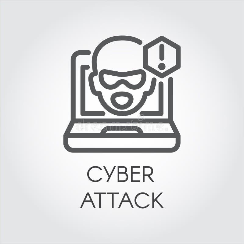 Cyber ataka linii ikona Wirtualna sieka peceta, laptopu i oprogramowania liniowa etykietka, Twarz od monitoru i okrzyka punktu ilustracji