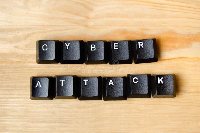 Cyber ataka słowa fotografia stock