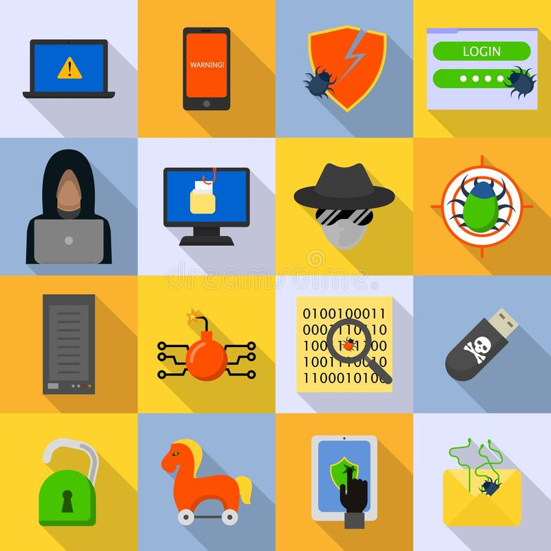 Cyber attack computer virus icons set, flat style stock illustration
