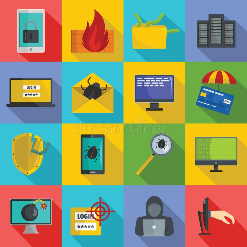 Cyber attack computer virus icons set, flat style. Cyber attack computer virus icons set. Flat illustration of 16 cyber attack computer virus icons for web royalty free illustration