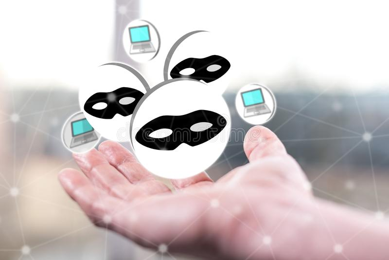 Concept of cyber attack. Cyber attack concept above a hand of a man royalty free stock photo