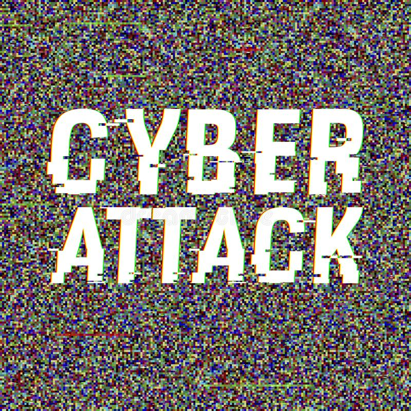 Cyber Attack glitch text. Anaglyph 3D effect. Technological retro background. Hacker application, malware, virus concept.  stock illustration