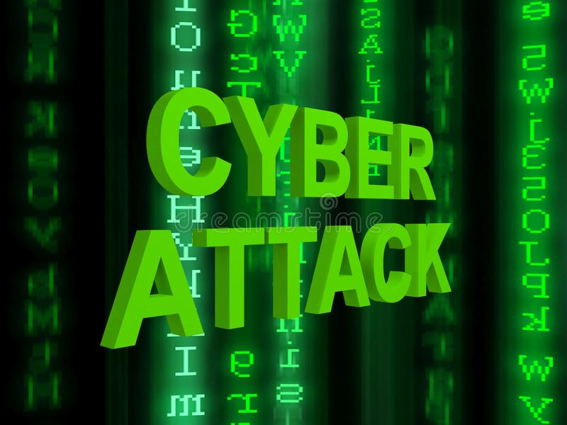 Cyber attack. Graphics in green with streaming data on black