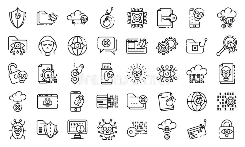 Cyber attack icons set, outline style vector illustration