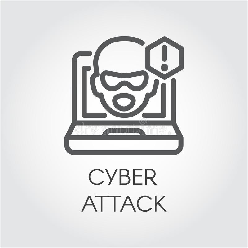 Cyber attack line icon. Virtual hacking PC, laptop and software linear label. Face from monitor and exclamation point stock illustration