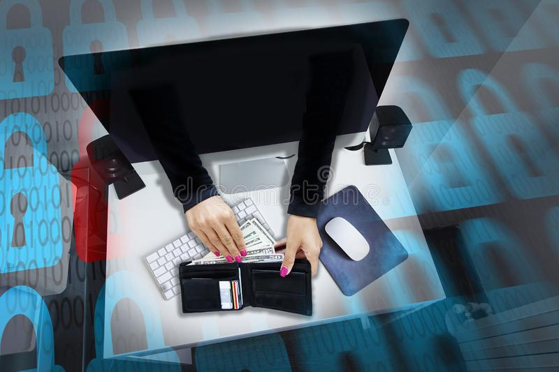 Cyber attack or online fraud with hacker's hands stealing money and credit cards from men's wallet royalty free stock images