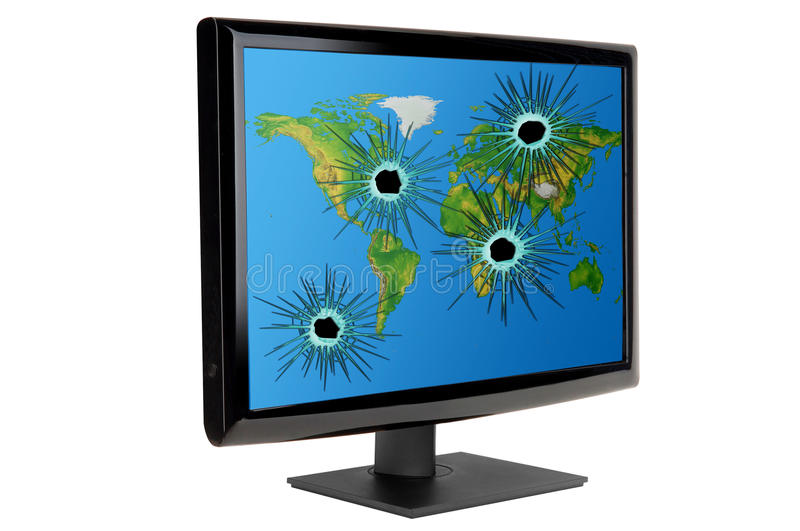 Cyber attack. Picture of a monitor with bullet holes and world map depicting cyber attack stock photos