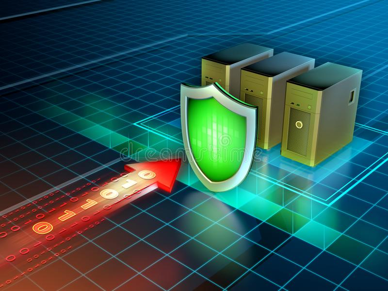 Cyber attack protection vector illustration
