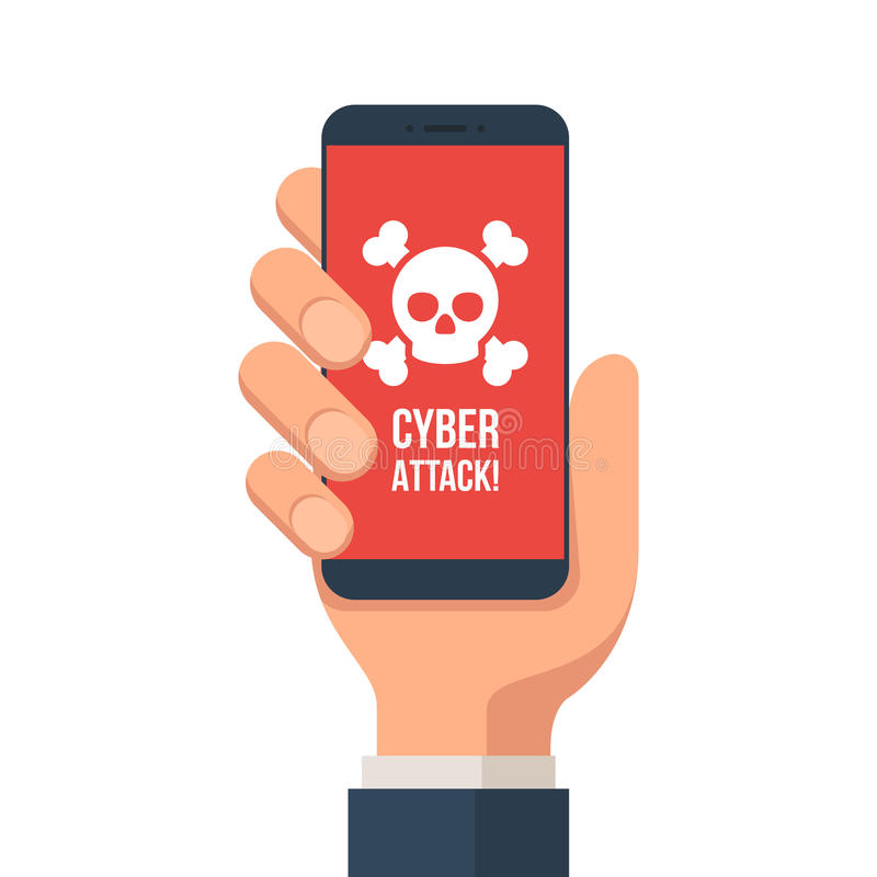 Cyber attack smartphone royalty free illustration