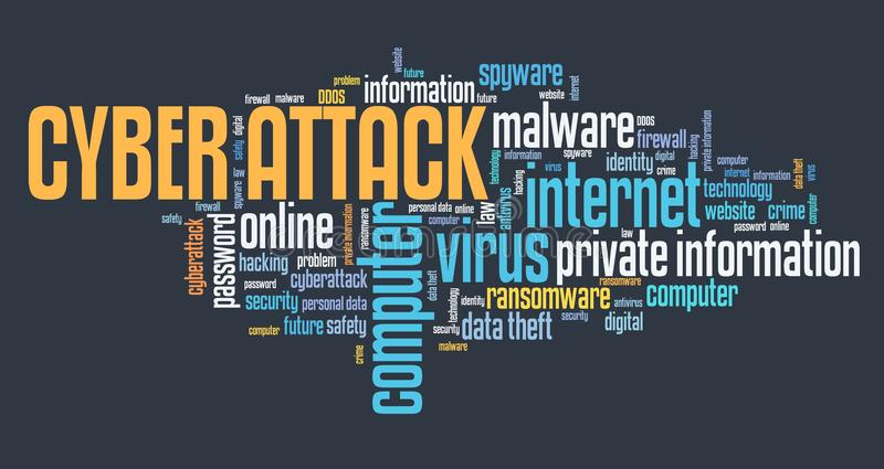 Cyber attack text stock illustration