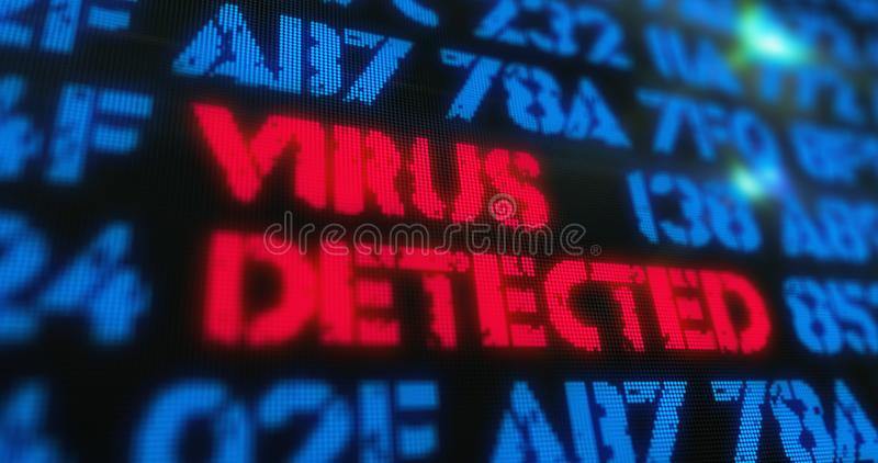 Cyber attack virus detected stock image
