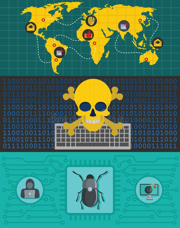 Cyber attack world banner concept set, flat style royalty free illustration