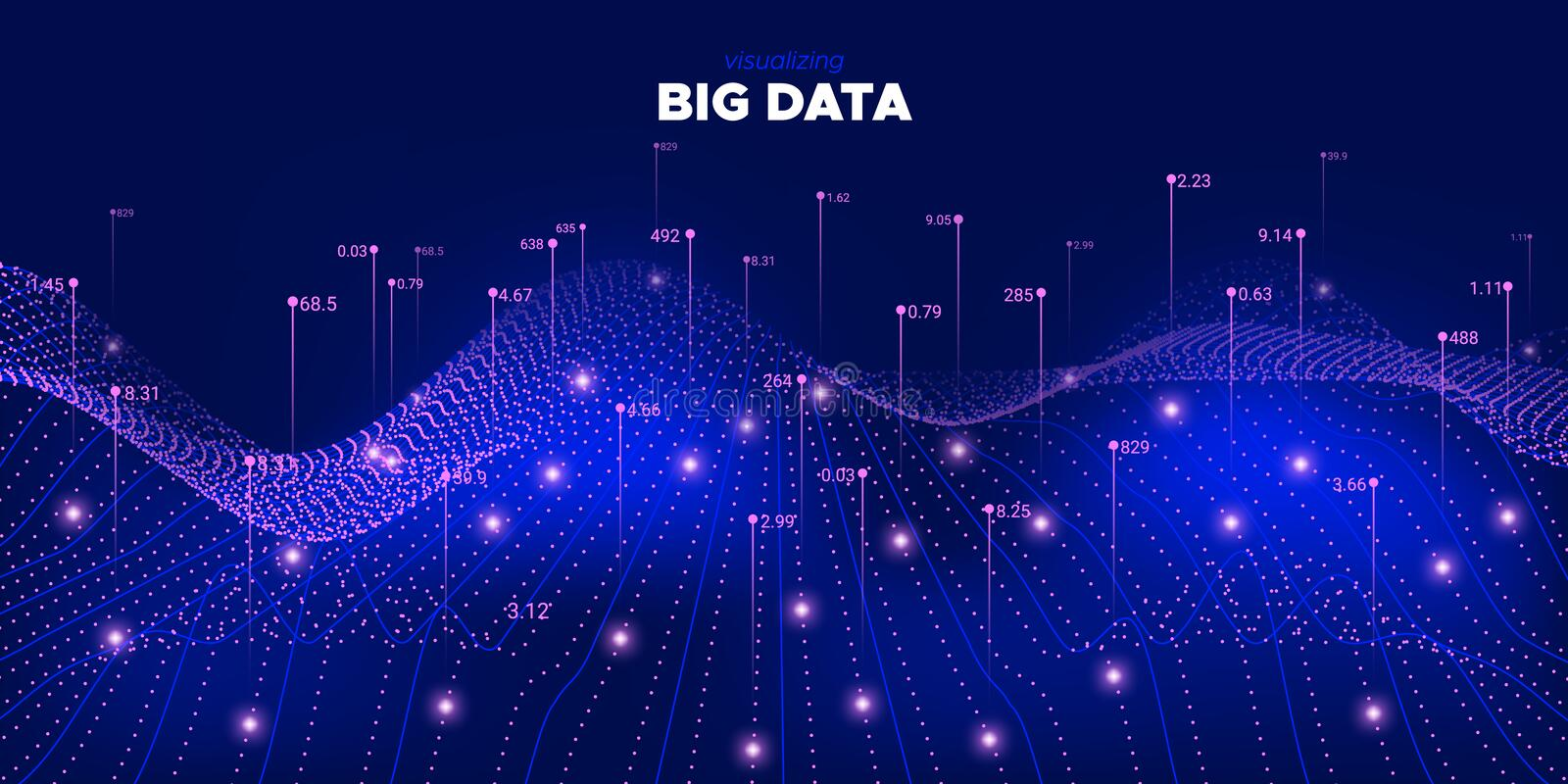 Cyber Big Data System. Violet Statistic. Complexity Abstract. Futuristic Technology Stream. Purple Cyber Big Data Stream. Particle Light Background. Cyber Data vector illustration