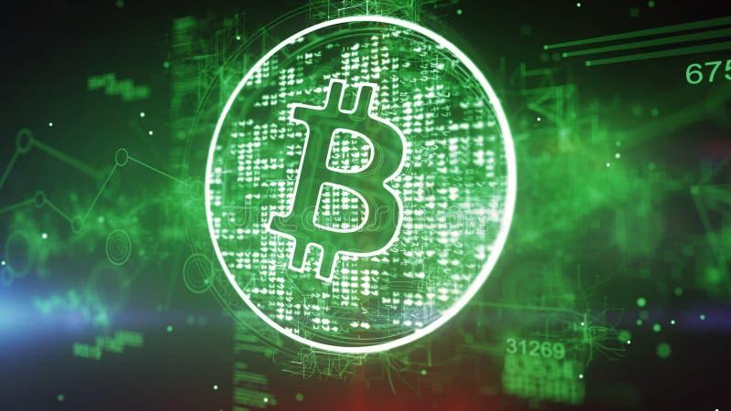 Cyber Bitcoin i cirkel med PIXEL royaltyfri illustrationer