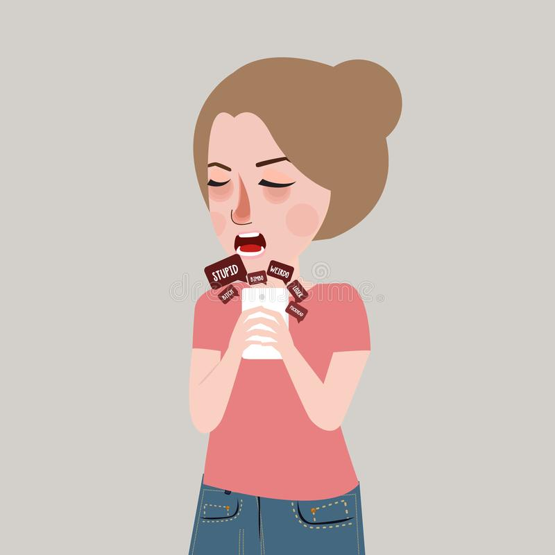Cyber bullying harassment victim teenager sad looking at her phone stock illustration